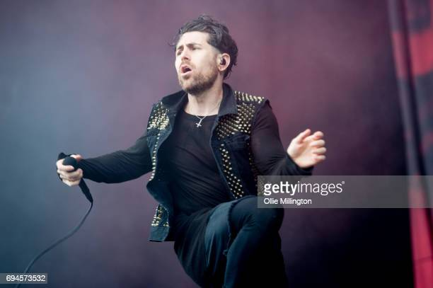 Davey Havok of AFI performs onstage during Day 2 of Download Festival at Donnington Park on June 10 2017 in Donnington England