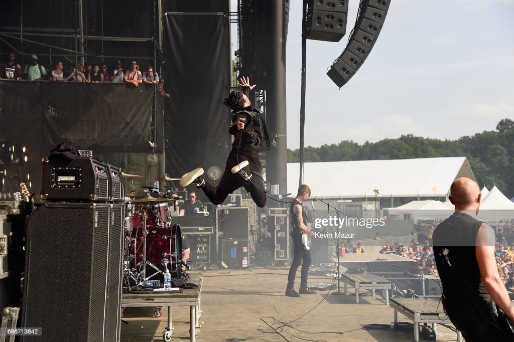 Davey Havok of AFI (C) performs onstage during the 2017 Firefly Music Festival on June 16, 2017 in Dover, Delaware.