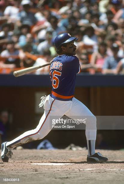 Davey Lopes of the Chicago Cubs bats against the New York Mets during an Major League Baseball game at Shea Stadium circa 1985 in Queens borough of...