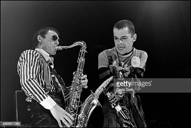 Davey Payne performing with Ian Dury & The Blockheads at Hammersmith Odeon on 27 December 1979.