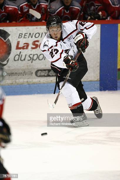 Davey Shea of the Rouyn-Noranda Huskies passes the puck during the game against the Drummondville Voltigeurs at the Centre Marcel Dionne on January...