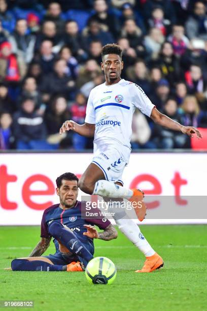 Davi Alves of PSG and Nuna Da Costa of Strasbourg during the Ligue 1 match between Paris Saint Germain and Strasbourg at Parc des Princes on February...