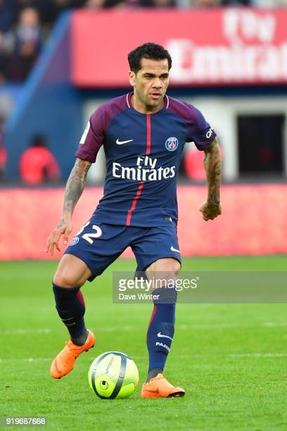 Davi Alves of PSG during the Ligue 1 match between Paris Saint Germain and Strasbourg at Parc des Princes on February 17 2018 in Paris France