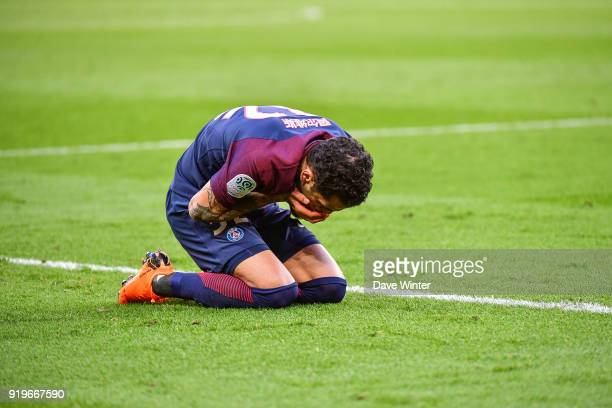 Davi Alves of PSG goes down injured during the Ligue 1 match between Paris Saint Germain and Strasbourg at Parc des Princes on February 17 2018 in...
