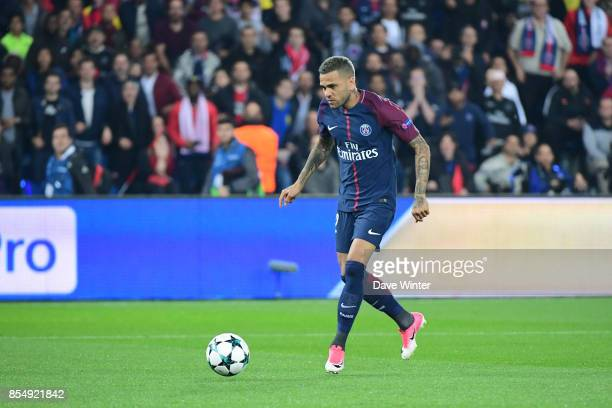 Davi Alves of PSG steadies himself before shooting to put his side 10 ahead during the Uefa Champions League match between Paris Saint Germain and FC...