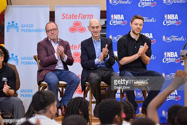 Davi Griffin General Manager of the Cleveland Cavaliers NBA Commissioner Adam Silver and Matthew Dellavedova at the 2016 NBA Finals Cares Legacy...