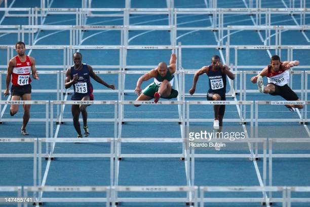 Davi Guilherme dos Santos Andre Luis da Silva Joao Vitor de Oliveira Fabio Vaz dos Santos and Ricardo Gutz Vieira from Brazil compete in the 110 m...