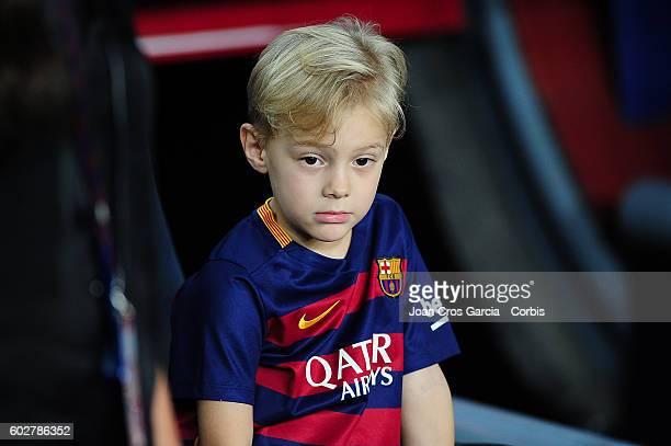 Davi Lucca da Silva Santos, son of Neymar Jr. Attends the Spanish League match between F.C Barcelona vs Deportivo Alavés at Nou Camp, on September,...