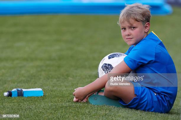 Davi Lucca da Silva Santos son of Neymar Jr looks on during a Brazil training session on June 29 2018 in Sochi Russia