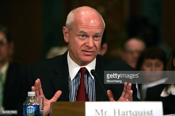 David A Hartquist Counsel for the China Currency Coalition makes a statement at a hearing of the US Senate Committee on Banking Housing and Urban...