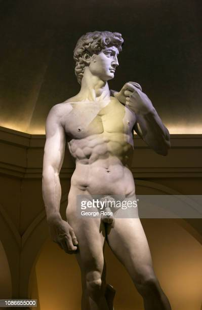 David a replica of a Renaissance sculpture created in marble by the Italian artist Michelangelo is on display at Caesars Palace Hotel Casino as...