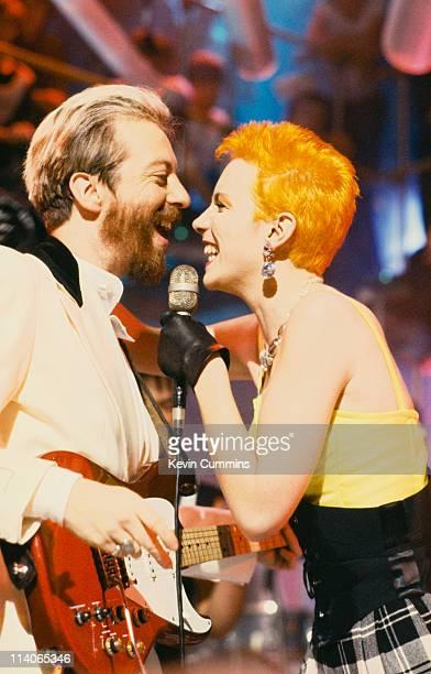 David A Stewart and Annie Lennox of British pop rock duo Eurythmics perform live circa 2000