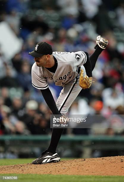 David Aardsma of the Chicago White Sox pitches against the Chicago Cubs during interleague play on May 20 2007 at Wrigley Field in Chicago Illinois...