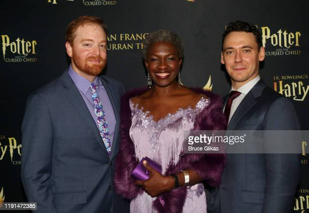 David Abeles Yanna McIntosh and John Skelley pose at the opening night after party for Harry Potter and The Cursed Child Parts One 2 at August Hall...