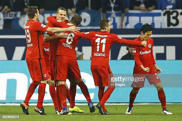 David Abraham of Eintracht Frankfurt Alexander Meier of Eintracht Frankfurt Mijat Gacinovic of Eintracht Frankfurt Makoto Hasebe of Eintracht...