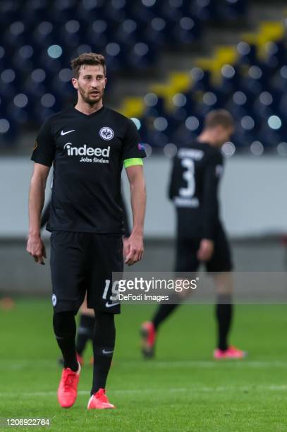 David Abraham of Eintracht Frankfurt looks dejected during the UEFA Europa League round of 16 first leg match between Eintracht Frankfurt and FC...