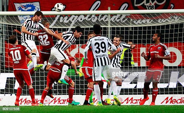David Abraham of Eintracht Frankfurt scores a goal during the Bundesliga match between FC Ingolstadt 04 and Eintracht Frankfurt at Audi Sportpark on...