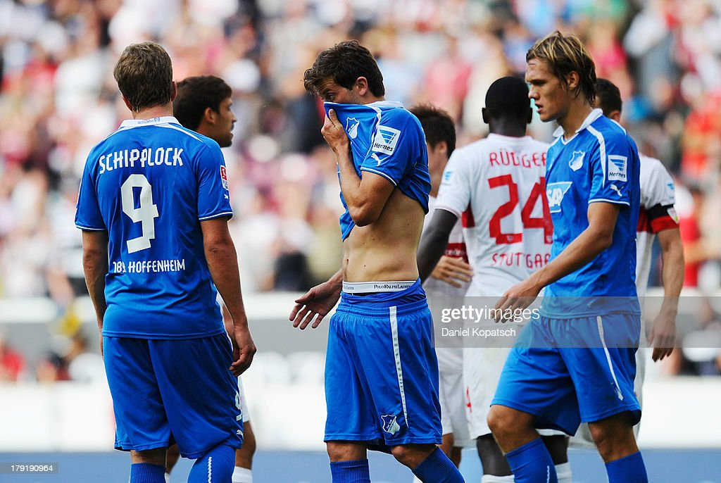 David Abraham of Hoffenheim (C) reacts after the Bundesliga match between VfB Stuttgart and 1899 Hoffenheim at Mercedes-Benz Arena on September 1, 2013 in Stuttgart, Germany.