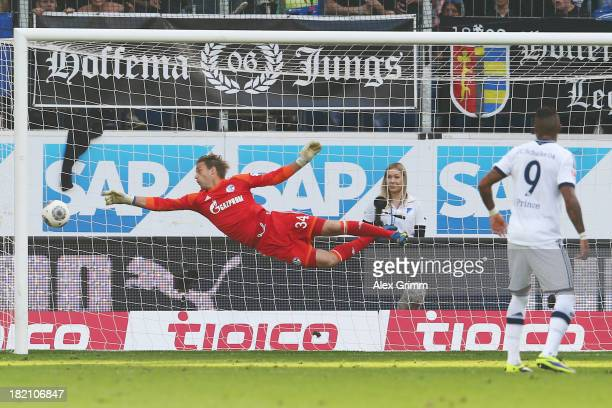 David Abraham of Hoffenheim scores his team's third goal with a freekick against goalkeeper Timo Hildebrand of Schalke during the Bundesliga match...