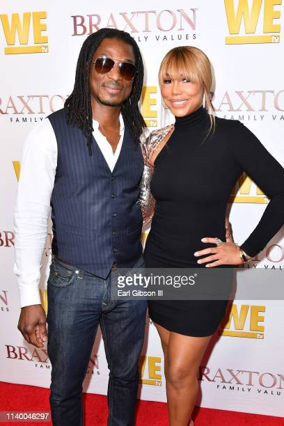 "David Adefeso and Tamar Braxton are seen as We TV celebrates the premiere of ""Braxton Family Values"" at Doheny Room on April 02, 2019 in West..."