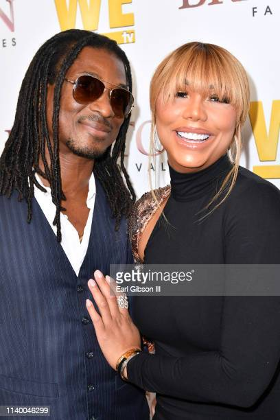 """David Adefeso and Tamar Braxton are seen as We TV celebrates the premiere of """"Braxton Family Values"""" at Doheny Room on April 02, 2019 in West..."""