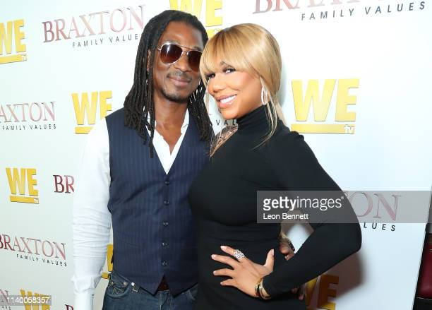 """David Adefeso and Tamar Braxton attend WE tv's """"Braxton Family Values"""" Season 6 Premiere at The Doheny Room on April 02, 2019 in West Hollywood,..."""