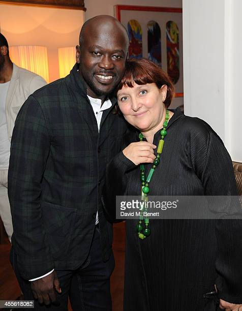 David Adjaye and Patrizia Moroso attends the STANDSEVEN party hosted by David Adjaye and Ross Lovegrove at The Club at Cafe Royal on September 17...