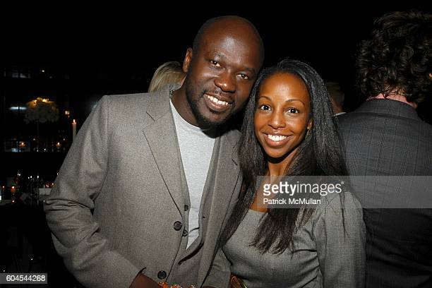 David Adjaye and Sarah Lewis attend LOUIS VUITTON Private Dinner for OLAFUR ELIASSON at LOUIS VUITTON on Fifth Avenue on November 9 2006 in New York...