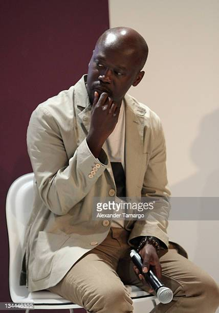David Adjaye speaks at Design Miami 2011 Design Talk hosted by W Magazine moderated by Stefano Tonchi at the Miami Beach Convention Center on...