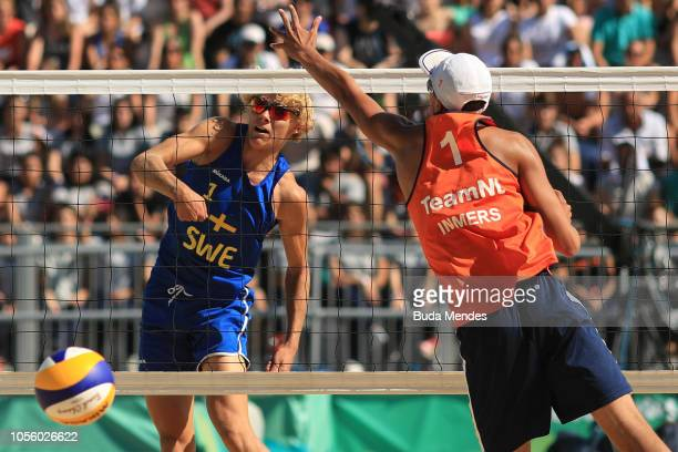 David Ahman of Seweden scores in Men's Gold Medal Match during day 11 of Buenos Aires 2018 Youth Olympic Games at Green Park on October 17 2018 in...