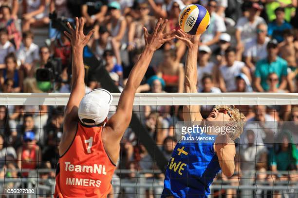 David Ahman of Seweden spikes in Men's Gold Medal Match during day 11 of Buenos Aires 2018 Youth Olympic Games at Green Park on October 17 2018 in...