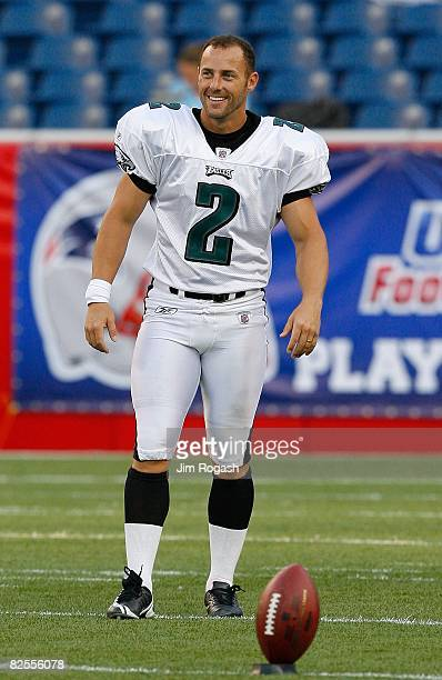David Akers of the Philadelphia Eagles practices before a preseason game with the New England Patriots at Gillette Stadium on August 22 2008 in...