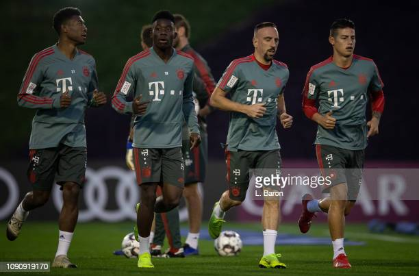 David Alaba Alphonso Davies Franck Ribery and James Rodriguez warm up during a training session at day four of the Bayern Muenchen training camp at...