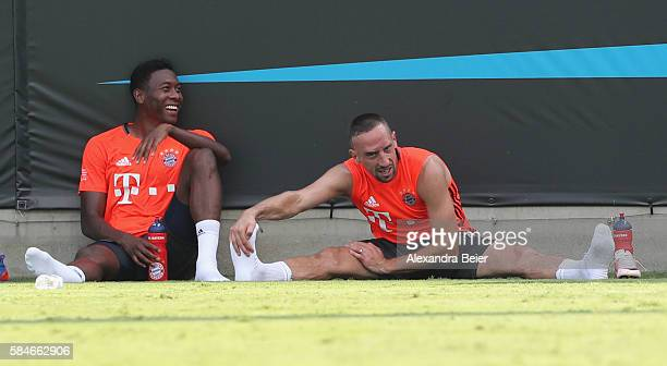 David Alaba and Franck Ribery of FC Bayern Muenchen are pictured after a training session at the AUDI Summer Tour USA 2016 on July 29 2016 at Bank of...