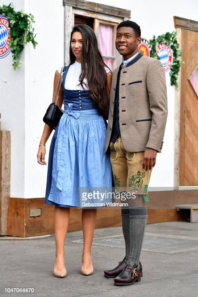 David Alaba and his girlfriend Shalimar Heppner attend the Oktoberfest beer festival at Kaefer Wiesenschaenke tent at Theresienwiese on October 7...