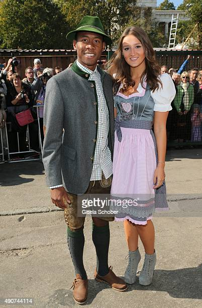 David Alaba and his partner with Katja Butylina attend the 'FC Bayern Muenchen Wiesn' during Oktoberfest 2015 at Kaeferschaenke on September 30 2015...