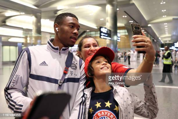 David Alaba arrives at Hamad International Airport during day one of the FC Bayern Muenchen winter training camp on January 04 2020 in Doha Qatar