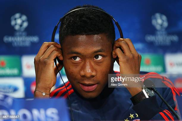 David Alaba attends the FC Bayern Muenchen press conference ahead of their UEFA Champions League semifinal second leg match against Real Madrid at...