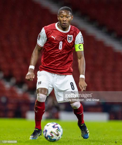 David Alaba in action for Austria during a World Cup qualifier between Scotland and Austria at Hampden Park, on March 25 in Glasgow, Scotland.