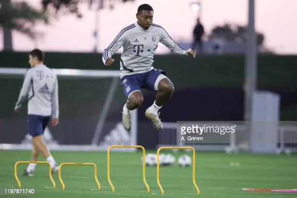 David Alaba jumps during a training session on day three of the FC Bayern Muenchen winter training camp at Aspire Academy on January 06, 2020 in...