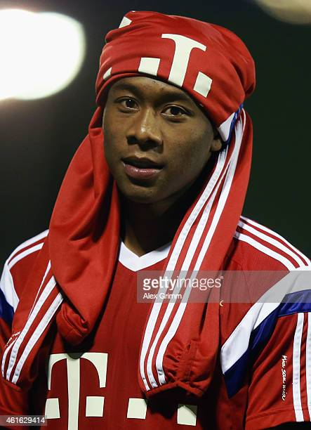 David Alaba leaves the pitch during day 8 of the Bayern Muenchen training camp at ASPIRE Academy for Sports Excellence on January 16 2015 in Doha...