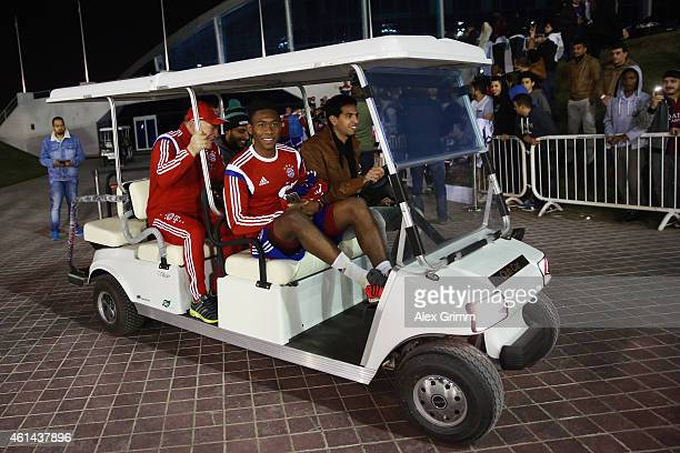 David Alaba leaves the training in a golf cart during day 4 of the Bayern Muenchen training camp at ASPIRE Academy for Sports Excellence on January...