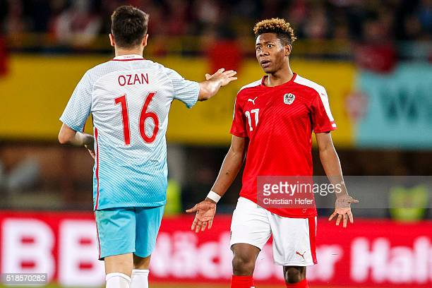 David Alaba of Austria argues with Ozan Tufan of Turkey during the international friendly match between Austria and Turkey at ErnstHappelStadium on...
