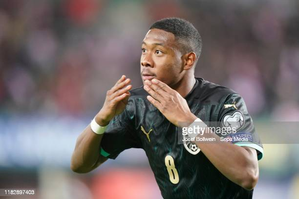 David Alaba of Austria celebrates after scoring a goal during the UEFA Euro 2020 Qualifier between Austria and North Macedonia on November 16, 2019...
