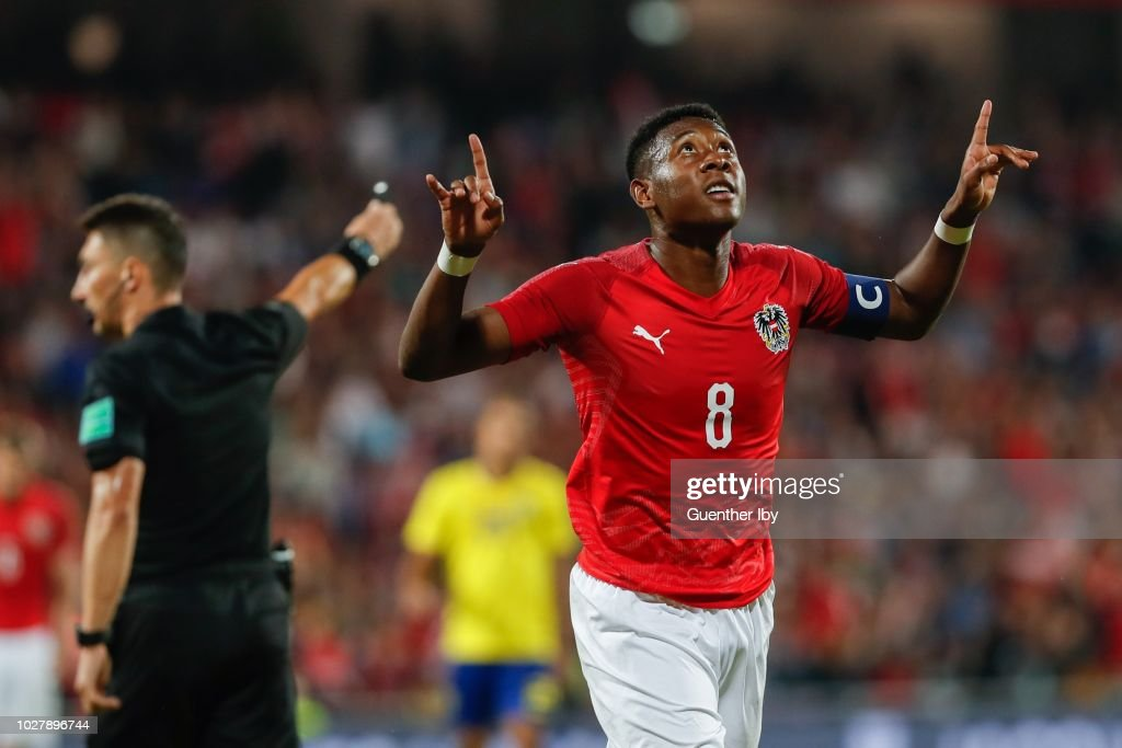 David Alaba of Austria celebrating his goal to 2 : 0 during the International Friendship game between Austria and Sweden at the Generali Arena on September 06, 2018 in Vienna, Austria.