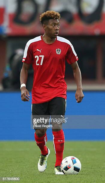 David Alaba of Austria controls the ball during the international friendly match between Austria and Albania at the ErnstHappelStadion on March 26...