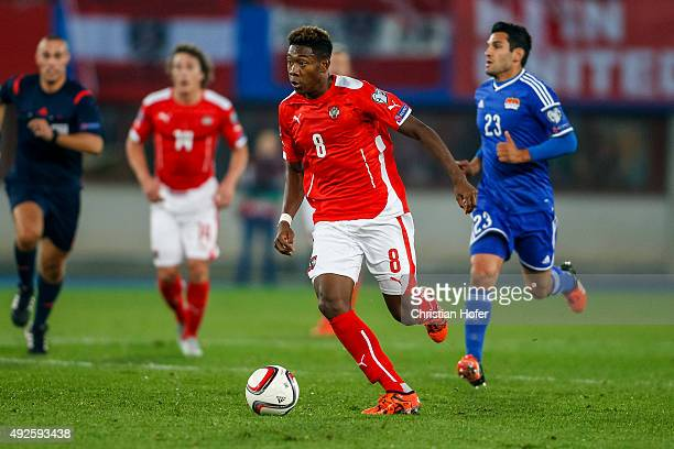 David Alaba of Austria controls the ball during the UEFA EURO 2016 Qualifier between Austria and Liechtenstein at Ernst Happel Stadion on October 12...
