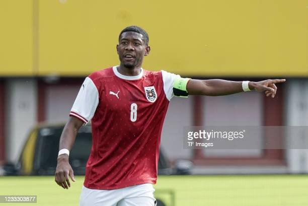 David Alaba of Austria gestures during the international friendly match between Austria and Slovakia at Happel Stadium on June 6, 2021 in Vienna,...