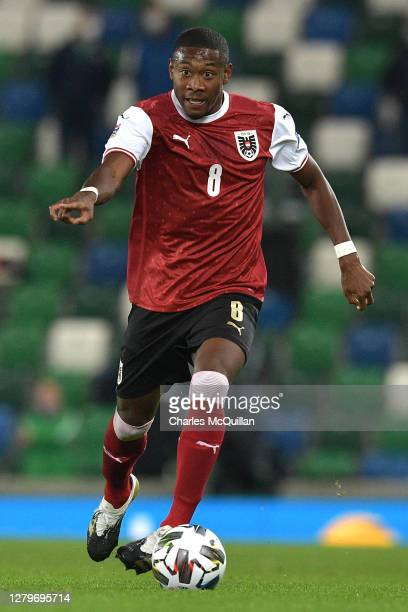 David Alaba of Austria in action during the UEFA Nations League group stage match between Northern Ireland and Austria at Windsor Park on October 11,...