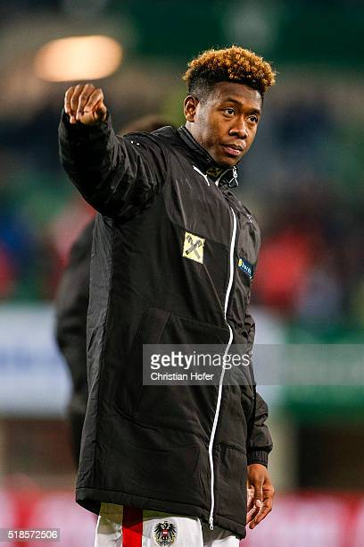 David Alaba of Austria looks dejected after the international friendly match between Austria and Turkey at ErnstHappelStadium on March 29 2016 in...